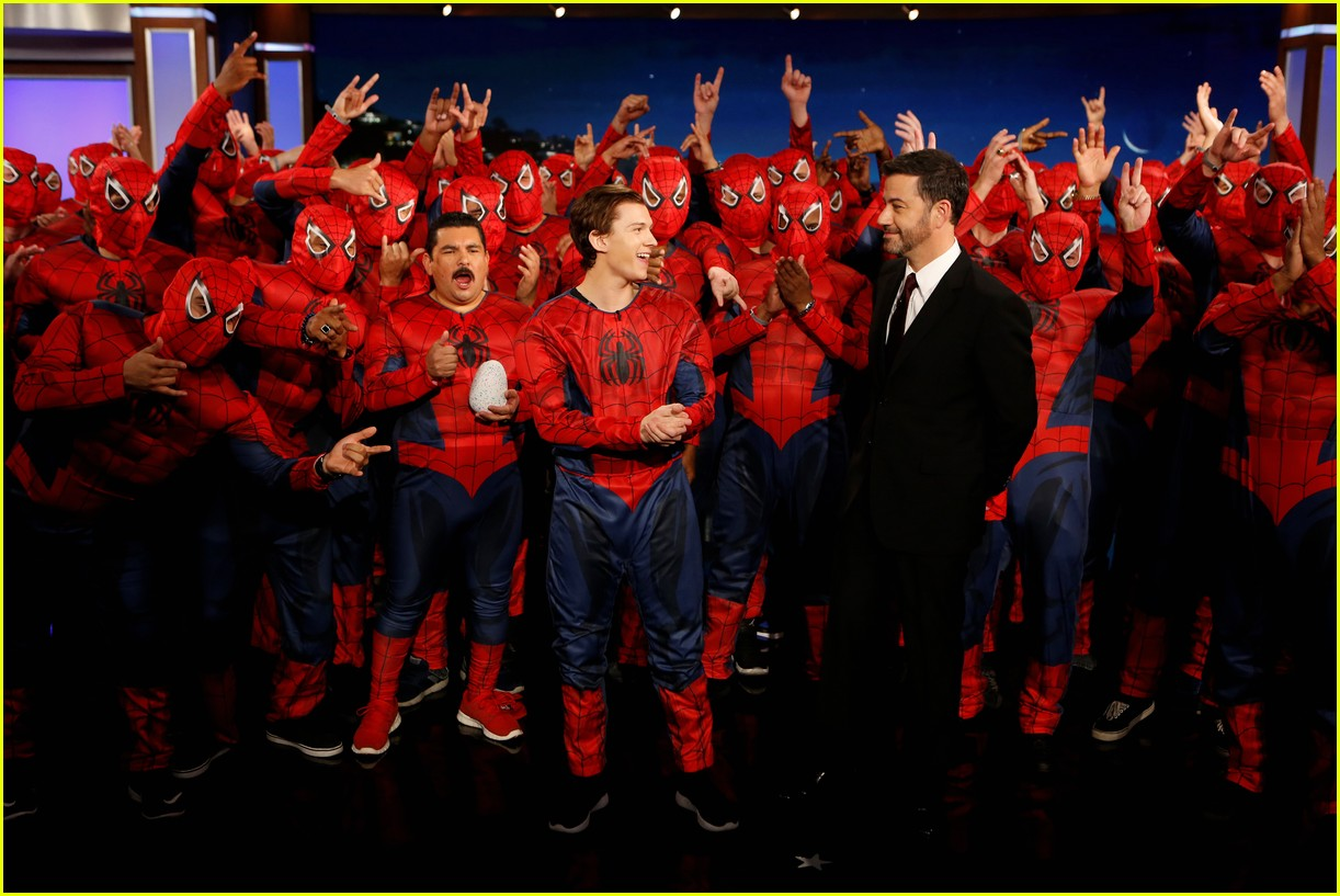tom holland suits up with spider man homecoming fans on jimmy kimmel live 06