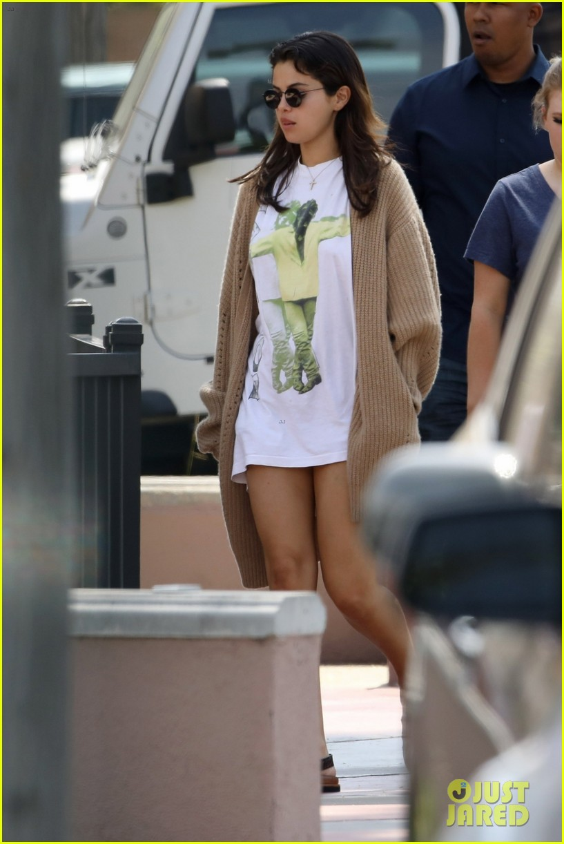 selena gomez wears keep the faith t shirt while stepping out for breakfast 06