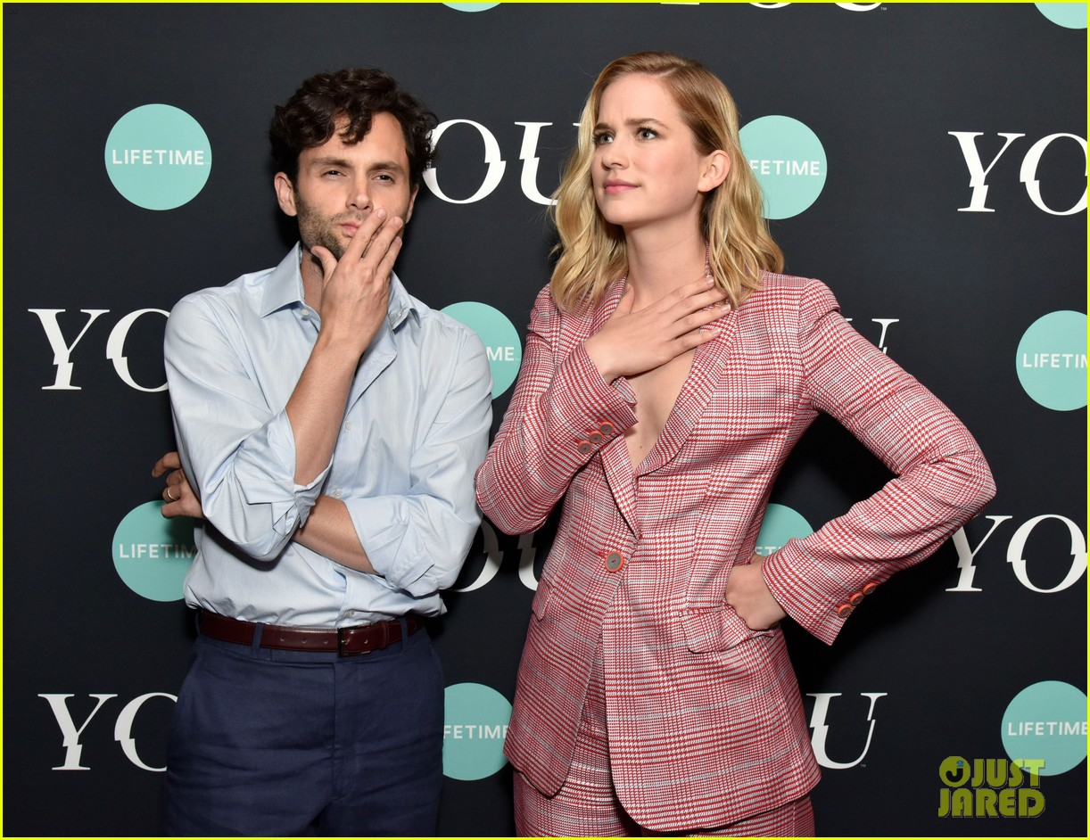 penn badgley elizabeth lail and shay mitchell look stylish at you series premiere 07
