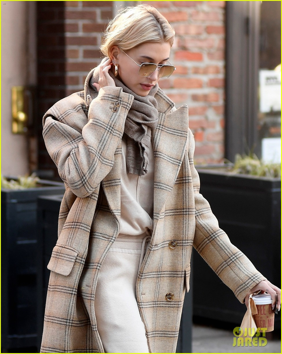 hailey bieber bundles up for morning coffee 06