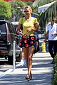 bella hadid wears floral mini skirt for lunch with friends 05
