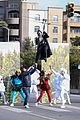 harry styles zip lines over la street for late late show segment 25