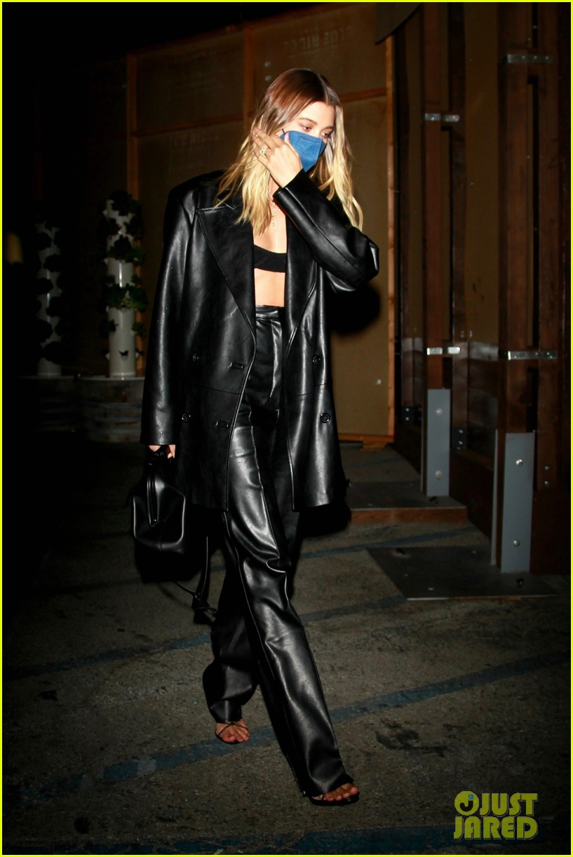hailey bieber rocks leather look for dinner in weho 03