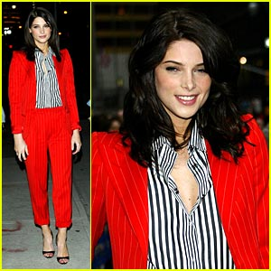 Ashley Greene Paints Letterman Red