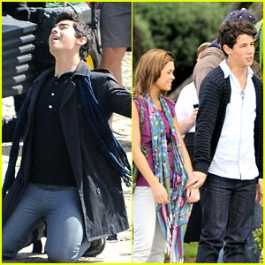 Nick Jonas & Nicole Anderson: Holding Hands on Set!
