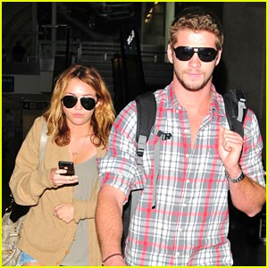 Miley Cyrus & Liam Hemsworth: LAX Landing