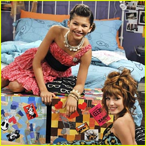 Zendaya and Bella Thorne hang out in their pretty party dresses on a    Zendaya And Bella Thorne Shake It Up