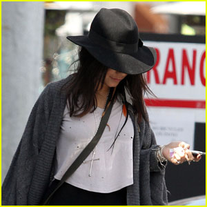 Vanessa Hudgens Hides Under Her Hat