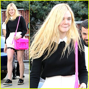 Elle Fanning: Bright Pink Bag Beauty