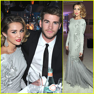Miley Cyrus & Liam Hemsworth: Elton John AIDS Oscar Party Pair