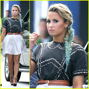 Demi Lovato: Blue Braid in Miami