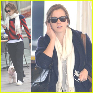 Emma Watson Walks Darcy, The Pink Dog