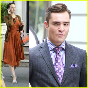 Leighton Meester: 'Gossip Girl' Set with Ed Westwick