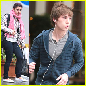 Ariana Grande & Noah Crawford Head To 'Swindle' Set