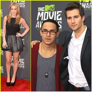 Carlos Pena & James Maslow -- MTV Movie Awards 2013 with Alexa Vega
