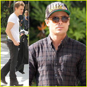 Zac Efron & Paul Wesley: Lakers Game Specatator