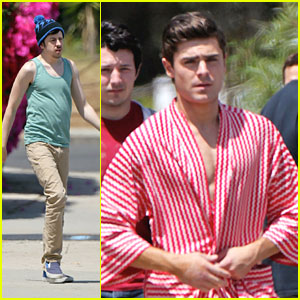 Zac Efron: Candy-Striped Robe for 'Townies'