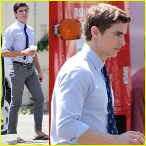 Zac Efron: Suit & Tie on 'Townies' Set