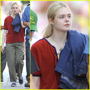 Elle Fanning: Polo Tee on 'Low Down' Set