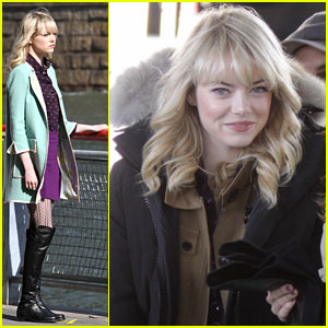 Emma Stone: Manhattan Bridge Filming For 'Spider-Man 2'