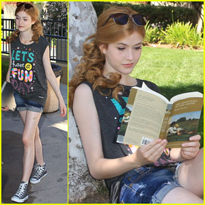 Katherine McNamara Beats the Heat with a Book