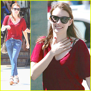 Emma Roberts: Urth Caffe Lunch After Gas Station Stop