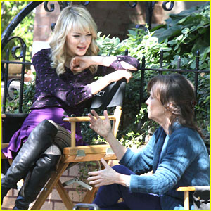 Emma Stone: 'Amazing Spider-Man 2' Set with Sally Field