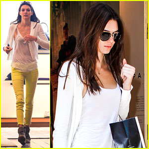 Kendall Jenner: Bright Yellow Jeans in NYC