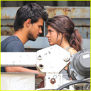 Taylor Lautner & Marie Avgeropoulos: Crane Scenes for 'Tracers'