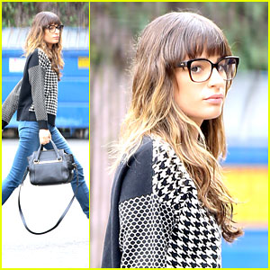 Lea Michele: Recording for 'Glee'!