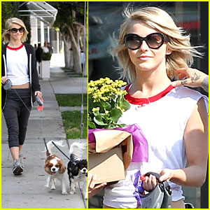 Julianne Hough Walks Harley & Lexi Before Buying Flowers