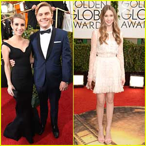 Emma Roberts & Evan Peters: Golden Globe Awards 2014 with Taissa Farmiga