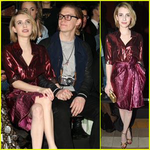 Emma Roberts & Fiance Evan Peters: Front Row at Lanvin Fashion Show