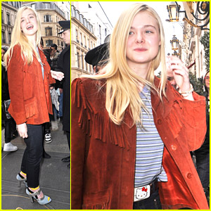 Elle Fanning Wears Hello Kitty Belt Buckle During Paris Fashion Week