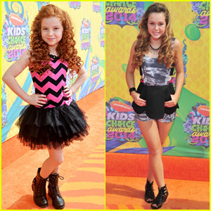 Francesca Capaldi & Brec Bassinger Wear Fun Prints to the Kids' Choice Awards 2014!