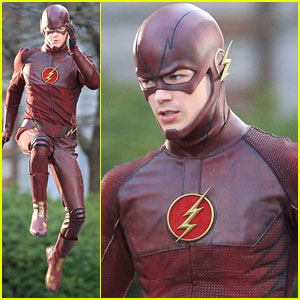Grant Gustin Films Scenes in 'The Flash' Costume - First Look!