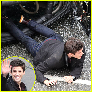Grant Gustin Films Smoky Car Crash Scene for 'The Flash'