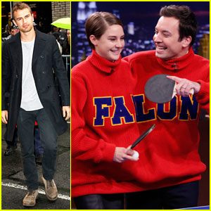 Shailene Woodley Plays Ping Pong on 'The Tonight Show,' Theo James Stops by 'Letterman'