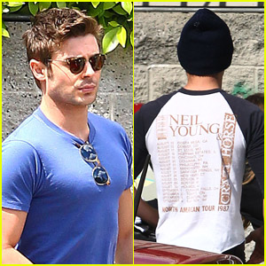 Zac Efron: T-Shirt Change For Hollywood Lunch