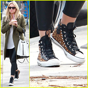 Ashley Benson Wears Cool Leopard Sneakers for Brunch
