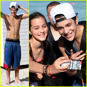 Austin Mahone Takes Beachside Selfies with Fans!