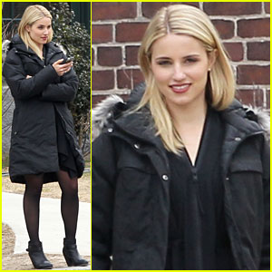 Dianna Agron Texts on 'Tumbledown' Set