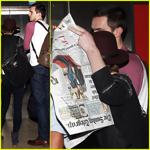 Jennifer Lawrence Hides Behind a Newspaper While Walking with Boyfriend Nicholas Hoult!