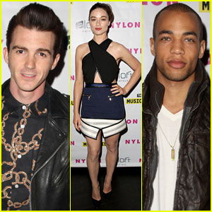 Crystal Reed & Drake Bell Celebrate Nylon's Music Issue with Kendrick Sampson