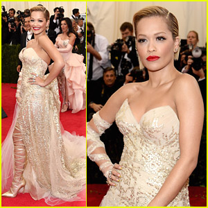 Rita Ora: Gold Lace Boots at MET Gala 2014