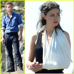 Phoebe Tonkin Wears an Arm Sling While Filming 'Take Down' in Wales