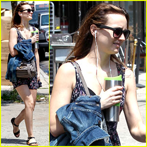 Leighton Meester Catches an Uber Car to Work