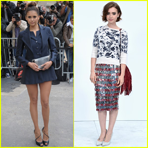 Nina Dobrev & Lily Collins are Chanel Beauties at Paris Fashion Week!