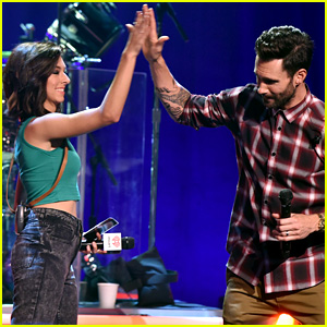 Christina Grimmie Reunites with 'Voice' Coach Adam Levine at Maroon 5 Album Release Party