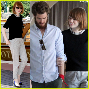Emma Stone & Andrew Garfield Walk Arm-in-Arm at Lunch in Venice
